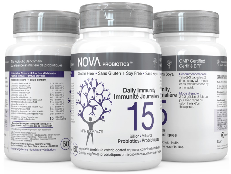 Multi-Strain Probiotic. Daily Probiotic Supplements for Immune Support. Daily Immunity - NOVA Probiotics. Including 14 beneficial probiotic strains.