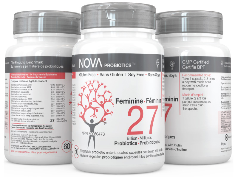 Multi-Strain Probiotic. Probiotic Supplements for Women. Feminine - NOVA Probiotics. Including 14 beneficial probiotic strains.