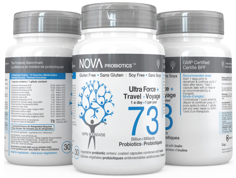 Multi-Strain Probiotic. High-Potency Probiotic Supplements. Ultra-Strength & Travel - NOVA Probiotics. 73 Billion CFU per enteric-coated capsule.