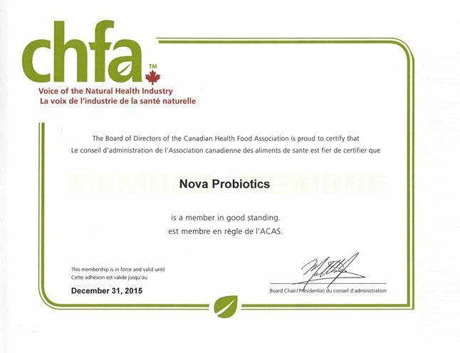 NOVA Probiotics is a proud member of CHFA.